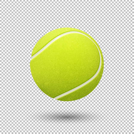 Vector realistic flying tennis ball closeup isolated on transparent background. Design template in EPS10. Illustration