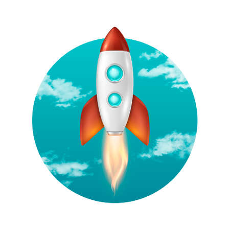 Vector background with retro space rocket ship launch, Template for project start up and development process, creative idea etc.
