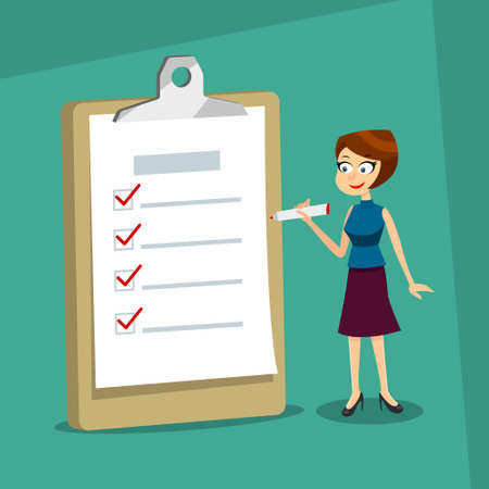 Happy smiling woman holding a marker looking at completed checklist on clipboard. Business concept. EPS10 vector illustration.