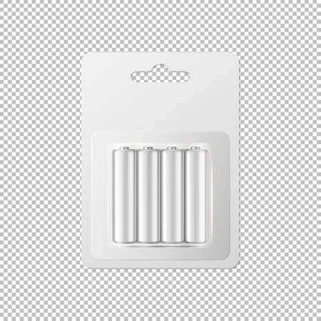 Vector realistic white alkaline AA batteries in blister packed icon set. Design template for branding, mockup. Closeup isolated on transparent background. EPS10 illustration. Illustration