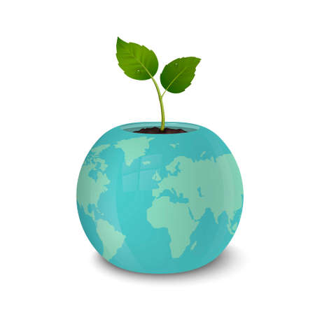 Ecology concept. Earth Day, World environmen day, Save the Earth or Green day. Vector background with sprout in a flower pot with a print of the Earth, isolated on white background. EPS10. Illustration