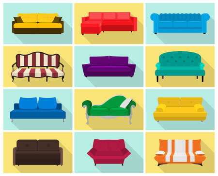 divan: Vector sofa icon set. Colored collection in flat style with long shadows - modern, retro, hi-tech etc. Templates for interior design. EPS8 illustration. Vectores