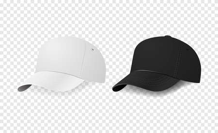 sported: White and black baseball cap icon set. Design template closeup in vector. Mock-up for branding and advertise isolated on transparent background.