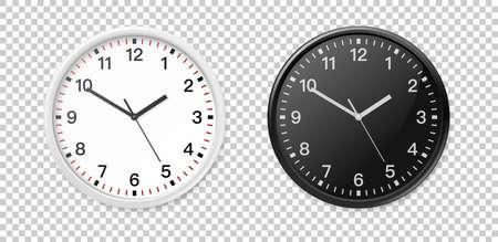 Witte en zwarte muur office klok pictogramserie. Ontwerpsjabloon close-up in vector. Mock-up voor branding en adverteren geïsoleerd op transparante achtergrond. Stockfoto