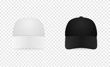 sported: White and black baseball cap icon set. Front view. Design template closeup in vector. Mock-up for branding and advertise isolated on transparent background.