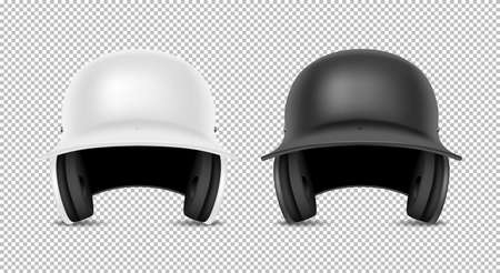 Realistic classic baseball helmet set - black and white color. Isolated on transparent background. Front view. Design template closeup in vector. Mock-up for branding and advertise.