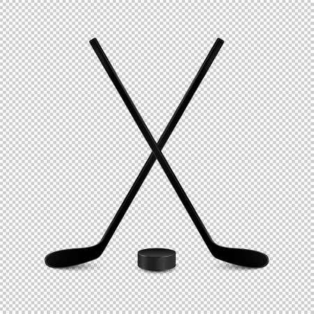 Illustration d'un ensemble de sport - deux bâtons de hockey croisés réalistes et une rondelle. Concevoir des modèles en vecteur. Closeup isolé sur fond transparent.
