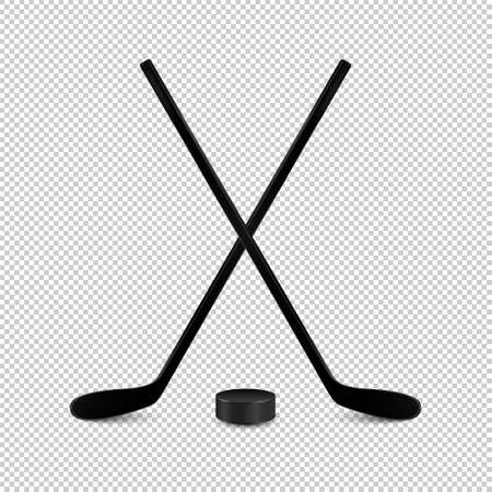 Illustration of sports set - two realistic crossed hockey sticks and puck. Design templates in vector. Closeup isolated on transparent background.