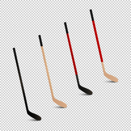Illustration of sports realistic icon set - ice hockey sticks. Design templates in vector. Closeup isolated on transparent background. Illustration