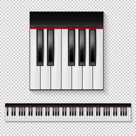 Realistic vector piano keys closeup isolated and keyboard icon set isolated on transparent background. Design template in EPS10.