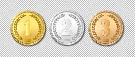L'icône réformiste de l'or, de l'argent et de la médaille de bronze, est isolée sur un fond transparent. Modèles de conception. Les premier, deuxième et troisième prix. Banque d'images - 80005112