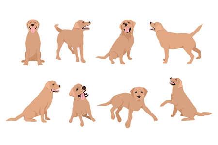 動物犬ラブラドールの文字のアイコンをフラット スタイルに設定します。デザイン テンプレートです。  イラスト・ベクター素材