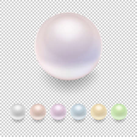 Realistic vector pearl icon set, variegated colors. Closeup isolated on transparent background. Design template, mockup, EPS10 illustration.