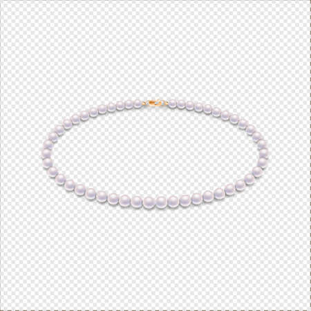 Realistic vector pearl necklace icon. Closeup isolated on transparent background. Design template, mockup, EPS10 illustration.