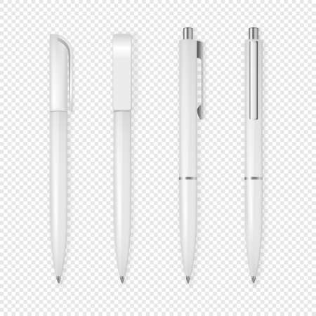 Realistic vector white pen icon set. Corporate identity and branding stationery. Closeup isolated on transparent background. Design template, mockup, EPS10 illustration.