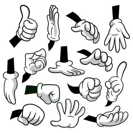 Beeldverhaalhanden met handschoenenpictogramreeks die op witte achtergrond wordt geïsoleerd. Vector clipart - delen van het lichaam, armen in witte handschoenen.