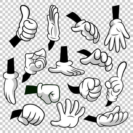 Cartoon hands with gloves icon set isolated on transparent background.