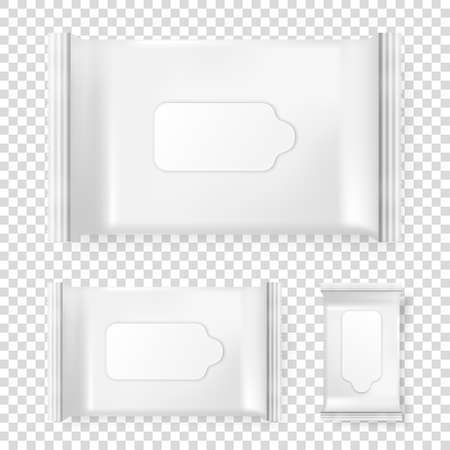 Realistic vector pack of wet wipes icon set isolated on transparent background. Vector design template for branding. Closeup design template, mockup, EPS10 illlustration. Illustration