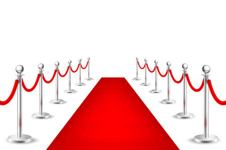 Alfombra roja realista del acontecimiento del vector y barreras de plata aisladas en el fondo blanco. Plantilla de diseño, clipart en EPS10. Foto de archivo - 83042649