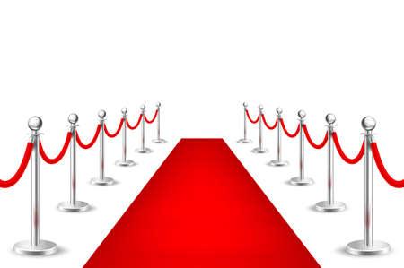 Realistisch vector rood gebeurtenistapijt en zilveren die barrières op witte achtergrond worden geïsoleerd. Ontwerpsjabloon, clipart in EPS10. Stock Illustratie
