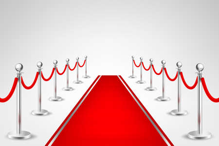 Realistic vector red event carpet and silver barriers isolated on white background. Design template, clipart in EPS10.