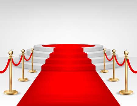 Realistisch vector rood gebeurtenistapijt, gouden barrières en witte die treden op witte achtergrond worden geïsoleerd. Ontwerpsjabloon, clipart. EPS10. illustratie.