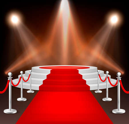 Realistic vector red event carpet, silver barriers and white stairs isolated on white background. Design template, clipart in EPS10.
