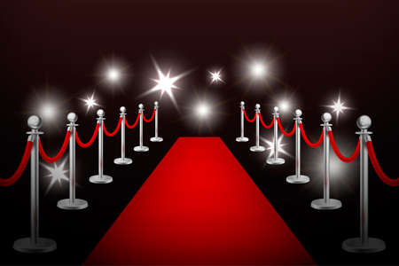 Realistic vector red event carpet , silver barriers and flashes. Design template in EPS10. Иллюстрация