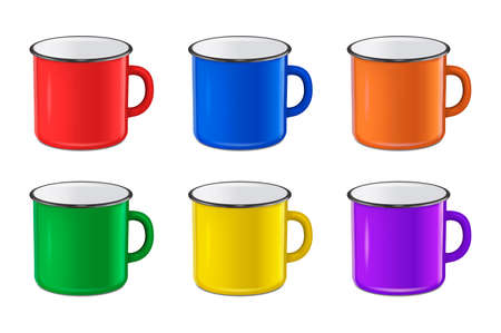 Vector realistic enamel metal red, blue, green and yellow mug set isolated on white background. EPS10 design template for Mock up. Illustration