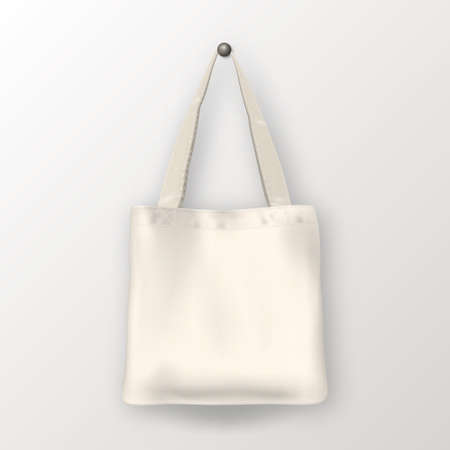 Realistic vector white empty textile tote bag. Closeup isolated on white background. Design template for branding, mockup. EPS10 illustration. Reklamní fotografie - 84486692