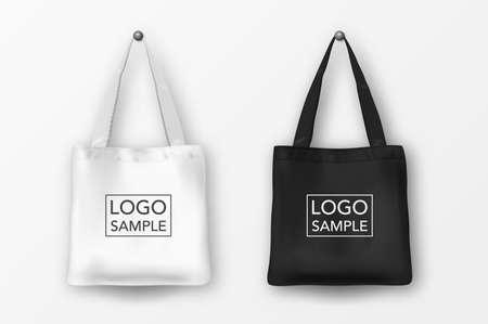 現実的なベクトル黒と白の空繊維トートバッグ アイコンを設定。白い背景で隔離のクローズ アップ。ブランディング、モックアップのためテンプレ