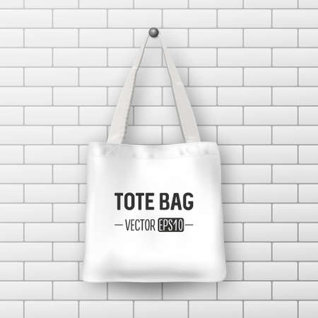 Realistic vector white textile tote bag closeup on brick wall realistic vector white textile tote bag closeup on brick wall background design template for maxwellsz