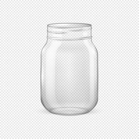 Vector realistic empty glass jar for canning and preserving without lid closeup isolated on transparent background. Design template for advertise, branding, mockup. EPS10.