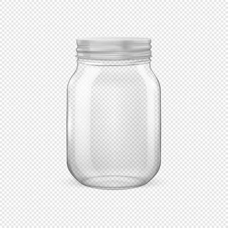 Pot de verre vide réaliste de vecteur pour la mise en conserve et la préservation avec closeup couvercle argenté isolé sur fond transparent. Modèle de conception pour la publicité, la marque, la maquette. EPS10. Vecteurs