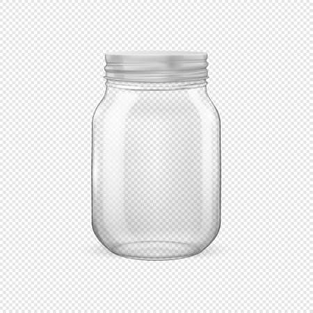 Vector realistic empty glass jar for canning and preserving with silvery lid closeup isolated on transparent background. Design template for advertise, branding, mockup. EPS10.