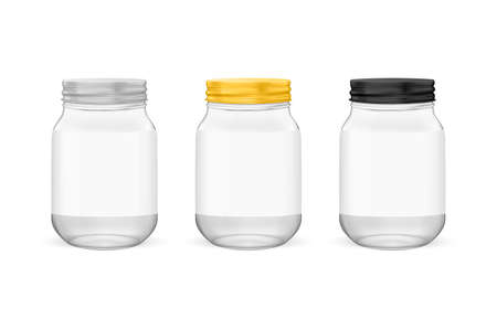 Vector realistic empty glass jar for canning and preserving set with silvery, golden and black lids closeup isolated on white background. Design templates for advertise, branding, mockup.