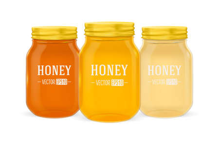 Vector realistic glass jar of honey set with golden lid closeup isolated on white background. Design template for advertise, branding, mockup. EPS10. 向量圖像