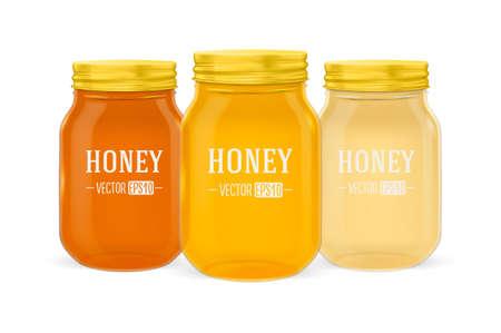 Vector realistische glaskruik honing die met gouden die dekselclose-up wordt geplaatst op witte achtergrond wordt geïsoleerd. Ontwerpsjabloon voor adverteren, branding, mockup. EPS10.
