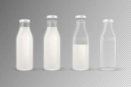Vector realista transparente cerrado y abierto vacía y botella de leche de vidrio lleno conjunto con portarretrato de tapa blanca aislado sobre fondo transparente. Plantilla de diseño para publicidad, branding, maqueta. EPS10.
