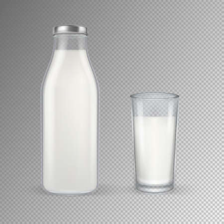 pasteurized: Vector realistic transparent closed full glass milk bottle and glass with milk set closeup isolated on transparent background. Design template for advertise, branding, mockup. EPS10 illustration.