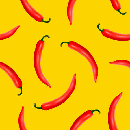 Vector seamless pattern with realistic red hot natural chili peppers on a yellow background. EPS10.