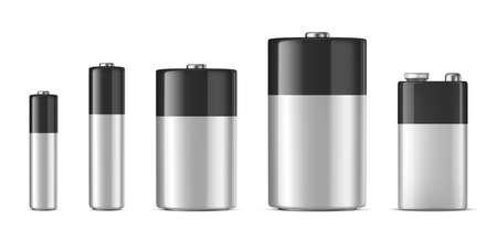 Realistic alkaline battery icon set. Illustration