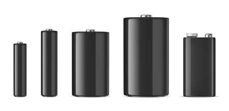 Realistic black alkaline battery icon set. Illustration