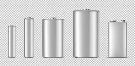 Realistic white alkaline battery icon set.