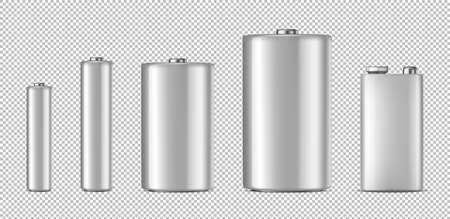 Realistic white alkaline battery icon set.