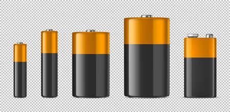 Zestaw ikon baterii alkalicznych. Ilustracje wektorowe