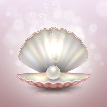 Realistic beautiful natural open sea pearl shell with reflection closeup on a pink blur background with light effects and water bubbles. Design template, clipart, icon or mockup in EPS10. Stock vector. EPS10 illustration.