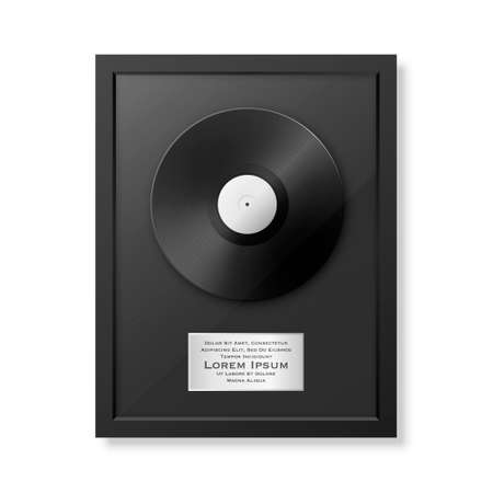 Realistic LP and label in glossy black frame icon