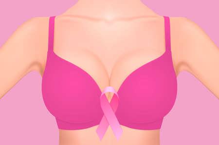 ピンクの背景にピンクのリボンのアップでピンクのブラジャーで美しいリアルな女性の胸。デザイン テンプレートです。乳房癌意識の概念。株式ベ