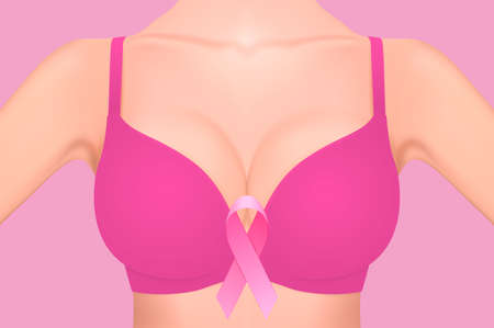 Beautiful realistic female breast in pink bra with pink ribbon close-up on pink background. Design template. Breast Cancer Awareness concept. Stock vector. EPS10 illustration. Ilustração